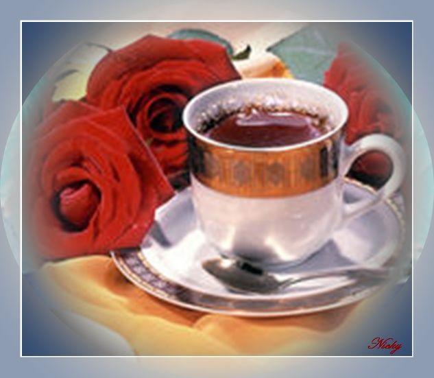 tasse de caf avec fleurs. Black Bedroom Furniture Sets. Home Design Ideas